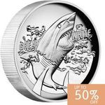 50% off Great White Shark 2015 1oz Silver Proof High Relief Coin at Perth Mint ($52.00 was $104), Shipping extra