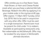 Free Raisin Toast or Hash Brown or Ham & Cheese Pocket) With Selected McCafe Beverage Purchase @ McDonald's (Via MyMaccas App)