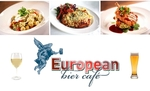 $29 for two mains a bottle of wine or two pints at the European Bier Cafe! Vic CBD. Normally $92