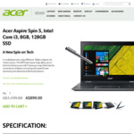 Acer Spin 5 13.3-Inch 2-in-1 Laptop - $899 (Was $1199) + Free Shipping @ Acer Store Australia