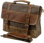 Vintage Waxed Canvas Genuine Leather Satchel Shoulder Bag Laptop Bag $69.99 Delivered (Was $89.99) @ Swanze Amazon AU