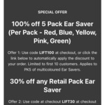 Free Pack of Ear Savers for First 10 Customers @ Ear Savers