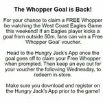 [WA] Free Whopper if an AFL West Coast Eagles Player Kicks a Goal from outside 50m @ Hungry Jack's App