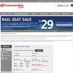 QLD Rail Seat Sale - Economy Seats from $29 (QLD Only)