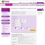 Australia to Thailand Companion Fare $796 P/P - Thai Airways