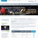 Save $100 Per Person on 2015 Singapore Grand Prix Packages from $1,895 with Singapore Airlines Holidays (SIA)