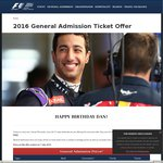 [MEL] Australian Formula 1 GP 2016 - Buy One General Admission Ticket and Get One FREE