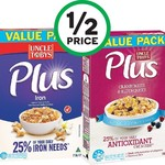 "Uncle Tobys ""Plus"" Cereals Large Size ~700gms HALF PRICE ($3.37) @ Woolworths"
