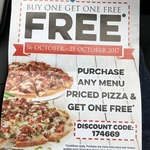 Buy One Get One Free Domino's Pizza - Excludes Value & Melbourne Range [Clayton, VIC]