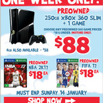 "Xbox 360 S 4GB $58, 250GB + 1 Game $88 (All Pre-Owned) and More ""Managers Specials"" at EB Games"
