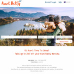 $50 off Return International Bookings (More for North/South America, Europe) @ Aunt Betty
