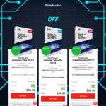 Bitdefender 2019 - 75% off. Antivirus Plus $17.49, Internet Security $25, Total Security $30