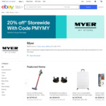 20% off (Max $500 Discount, 3 Transactions) @ Myer eBay