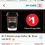 $1 Large Coffee, $1 Slice Varieties, $1 35-60g Cadbury Bar Varieties at 7-Eleven via Fuel App