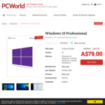 Microsoft Windows 10 Pro License $79.00 @ PCWorld
