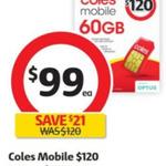 Coles Mobile $120 Prepaid SIM (60GB, 365 Days, International Calls, Data Rollover) - $99 @ Coles