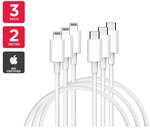 3 Pack 2m Apple MFi Certified Lightning USB-C $32.99 + Free Shipping @ Kogan