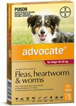 Advocate Fleas, Heartworm & Worms Treatment 4-10 kg/25kg+ Dogs, 6 Pack $77.24 ($69.52 S&S) Delivered @ Amazon