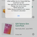 Telstra $40 SIM Card Pack for $20 @ 7-Eleven (App Required)