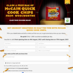 Free - Mccain Quick Cook Straight Cut Crunchy Chips 750g @ Woolworths via Mccain (1000/day)
