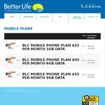 Betterlife Mobile from $33/Mth U/L Call/SMS +3GB (+ $6/Mth without Health Care Card)