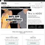 Black Friday/Cyber Monday: 20% off Everything @ ASOS (Free Shipping with $40 Spend, Free Returns)