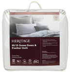 Heritage 85/15 Goose Down & Feather Quilt: SB $159.60, DB $199.60, QB $239.60, KB $279.60 (Save 60%) @ Myer eBay