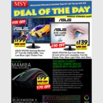 "MSY - ASUS 27"" Gaming LCD FHD 1ms Monitor $199, ASUS 24"" FHD Monitor $139, Razer Mamba Wireless Mouse $99, BlackWidow X K/B $129"