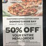 Domino's Rose Bay NSW 50% off Customer Appreciation Week