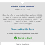 AmEx Offer: Spend $500 Get 5000 Velocity Frequent Flyer Points (Limited to 8000 Cards)