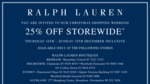 25% off Ralph Lauren Marked Prices - Christmas Shopping Weekend Sale