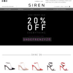 20% OFF Site-Wide @ Siren Shoes