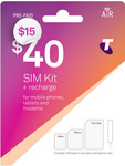 Telstra $40 Pre-Paid Sim Kit with 40GB for $15 Delivered @ Telstra