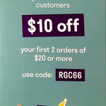 $10 off for Your First 2 Orders with $20 Minimum Spend (First 200 New Customers Only) @ Deliveroo