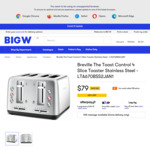 Breville The Toast Control 4 Slice Toaster Stainless Steel $79 + Delivery ($0 to Metro Sydney, Melbourne) @ Big W
