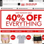 Bonds 40% off Everything (except Sale Items and Gift Cards). Free Shipping