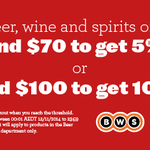 Woolies Online - Shop BWS - Spend $70 Get 5% Off, $100 Get 10% Off (Possibly Certain States?)