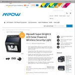 MPOW Solar Powered Wireless 8 LED Outdoor Motion Sensor Light USD $12.90 (~ AUD $18.30) Posted (Normally USD $30) @ Mpow