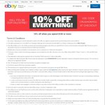 eBay 10% off Sitewide (Min Spend $100, Max Discount $300, 3 Transactions, Excludes Postage)