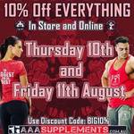 10% off ALL Supplements @ AAA Supplements Bundoora (VIC) - 10th and 11th August