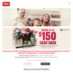 Bonus $70 or $150 EFTPOS Gift Card When You Purchase a Selected TCL UHD TV via Redemption