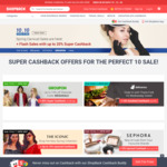10% Cashbacks - Myer (was 3%), AliExpress (was 5%), Deliveroo (Was 5%), Sephora (Was 7%), Uniqlo (Was 5%) + More @ Shopback