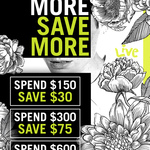 [WA]  Spend and Save Event: Spend $150 Save $30, Spend $300 Save $75, Spend $600 and Save $180 @ Live Clothing