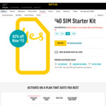 Optus - $40 Sim Starter Kit for $15 - 45GB for First 3 Recharge