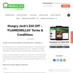 [NSW, ACT] $10 off Your First Order (Min Spend $20, Delivery Only) @ Hungry Jack's Menulog (Selected Stores)