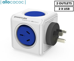 Allocacoc 2-Outlet Original PowerCube w/ USB - Blue $7 + Shipping (Free with Club Catch) @ Catch