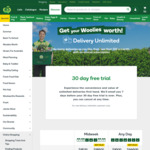 30 Day Free Trial Unlimited Deliveries (Min $100 Order, New Unlimited Customers) @ Woolworths Online