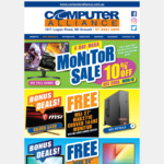 10% off Computer Monitors, Bonus Monitors with Selected Laptops / Desktop Purchases and More @ Computer Alliance