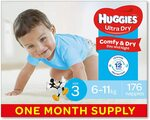 Huggies Ultra Dry Nappies, Boys, Size 3 Crawler (6-11kg), 176 Count $48.89 Delivered ($44 S&S) @ Amazon AU