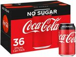 Coca-Cola Coke No Sugar/Classic 36x 375ml Cans $21.15 ($19.03 with Sub & Save) + Delivery ($0 with Prime/ $39 Spend) @ Amazon AU